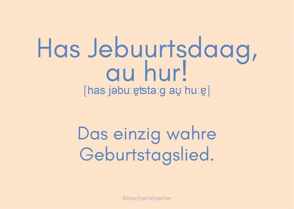 Postkarte- Has Jebuurtsdaag, au hur!
