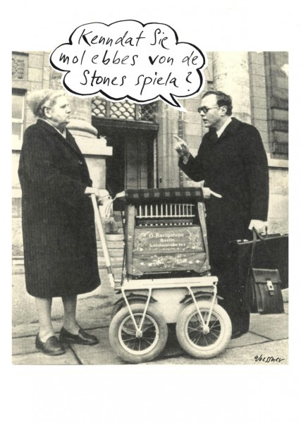 Postkarte - Freimut Woessner - Kenndat Sie mol ebbes von de Stones spiele?