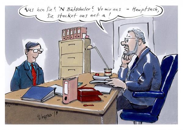 Postkarte - Freimut Woessner - Was hen Sie? 'N Bätscheler?