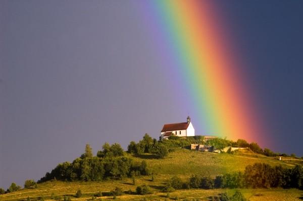 Grußkarte - Regenbogen über der Wurmlinger Kapelle