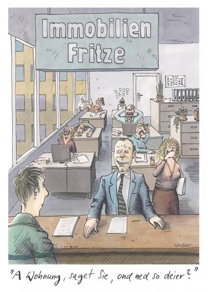 Postkarte - Freimut Woessner - A Wohnung, saget Sie, ond ned so deier?
