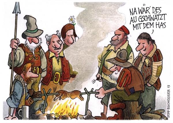 Postkarte - Ed. Sepp Buchegger - Na wär des au gschwätzt mit dem Has