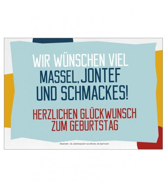 Grußkarte - Wir wünschen vielo Massel, Jontef und Schmackes!