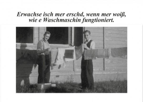 Postkarte - Erwachse isch mer erschd, wenn mer woiß, wie e Waschmaschin fungtioniert.