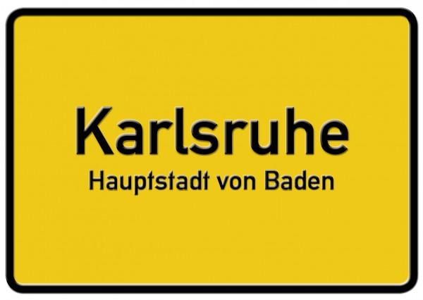 Ortsschild-Postkarte KARLSRUHE