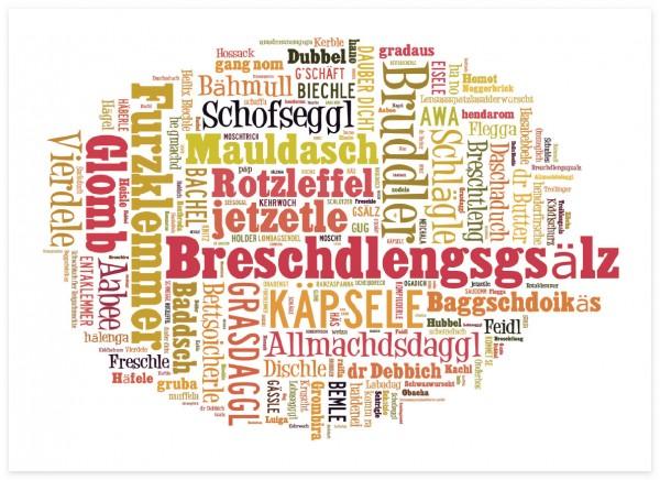 Schwäbische Wortwolke hell