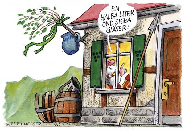 Postkarte - Ed. Sepp Buchegger - En halba Liter ond sieba Gläser!