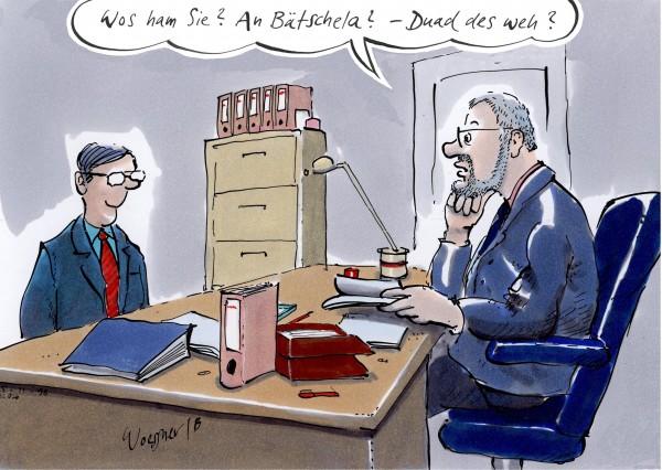 Postkarte - Freimut Woessner - Was ham se? An Bätschela?
