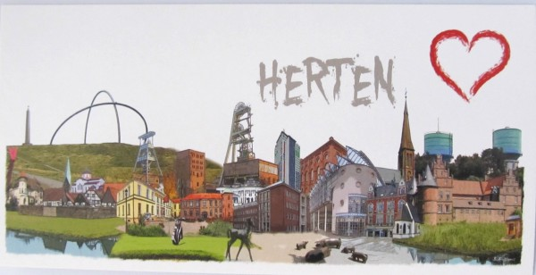 Postkarte - Röttgers - Panorama Herten
