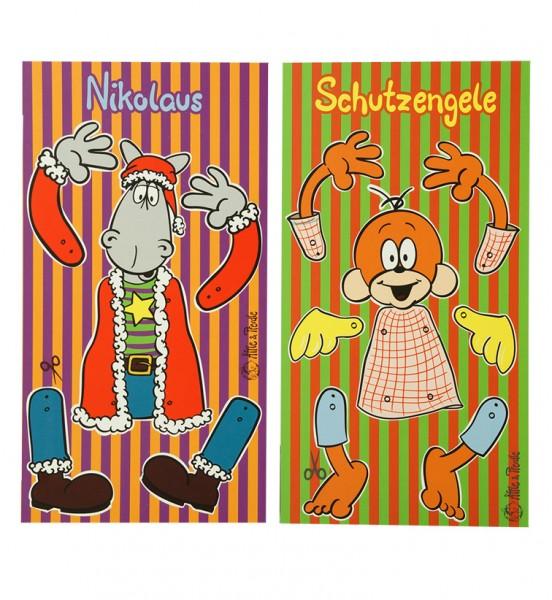 "2er-Set Hampelmann Postkarte - Schutzengele & Nikolaus"""
