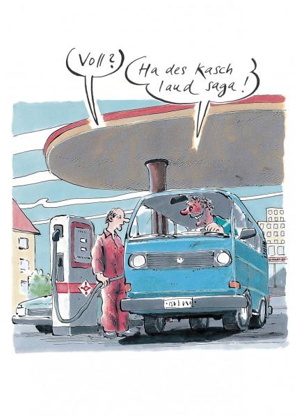 Postkarte - Freimut Woessner - Voll? Ha des kasch laud saga!
