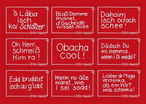 Stickerpostkarte - 9 Motive rot
