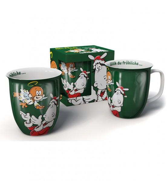 Weihnachtstasse grün - Uiiiih du fröhliche ...