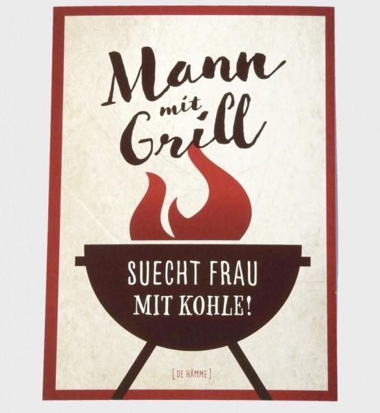 Postkarte - Mann mit Grill ...