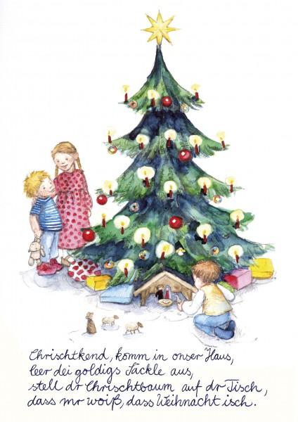 Weihnachts-Postkarte - Chrischtkend, komm in onser Haus