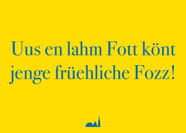 Postkarte- Uus en lahm Fott könt jenge früehliche Fozz!