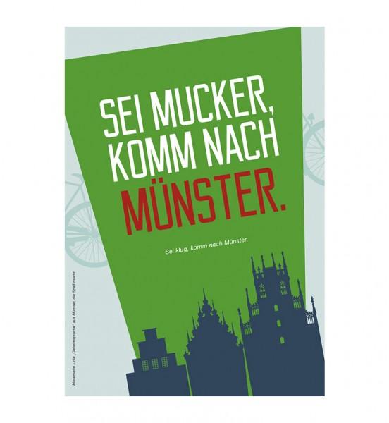 Grußkarte - Sei mucker, komm nach Münster.