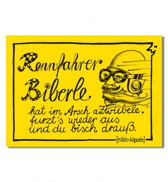 Postkarte - Rennfahrer Biberle