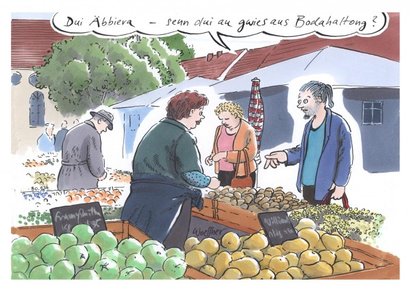 Postkarte - Freimut Woessner - Dui Äbbiera - senn dui au gwies aus Bodahaltong?