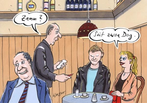 Postkarte - Freimut Woessner - Zamm? Seit zwoa Dog.