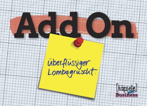 Postkarte - Add on - Überflüssiger Lombagruscht